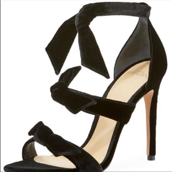 4be1a2530c8 Alexandre Birman Mary Black Velvet Bow Sandals